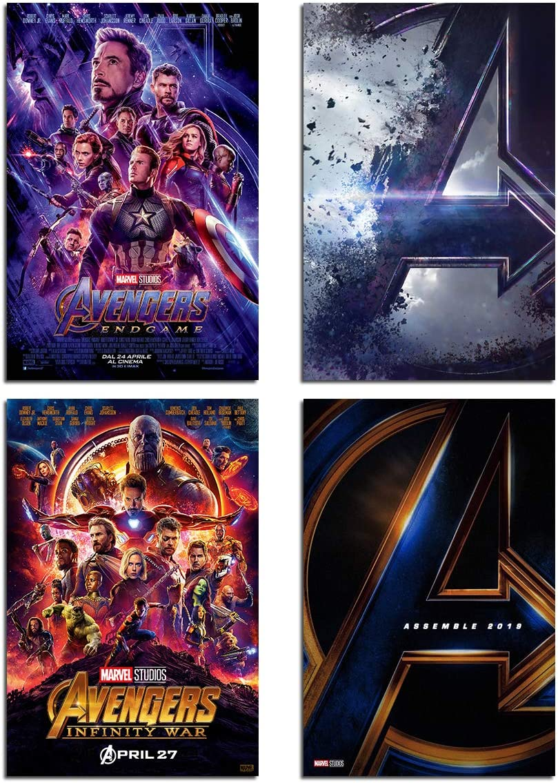 Marvel Avengers Wall Art Poster - Canvas Wall Decoration Superhero Print of Avengers Endgame Pictures/The Infinite War Movie /Manrvel Logo Sign Painting /4 Set Unframed 8x10 Inch for Boy Room Decor