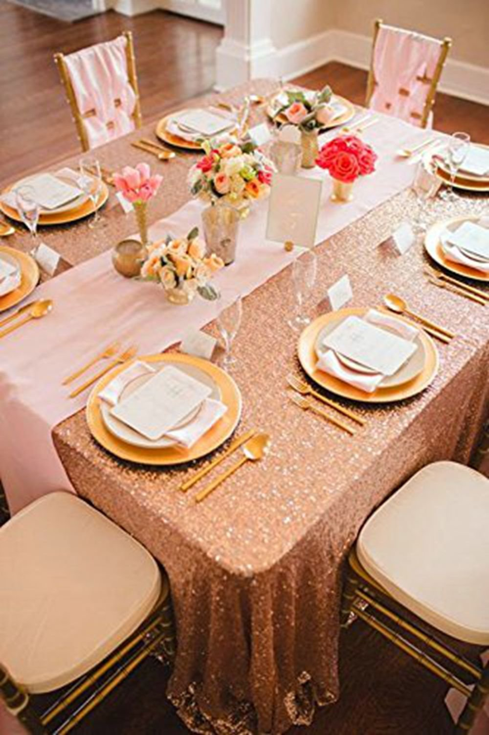 Sequin Table Clothes 50x102 inch Rose Gold Sequin Tablecloth Sequin Overlay Sparkle Table Decor for Wedding by SoarDream (Image #5)