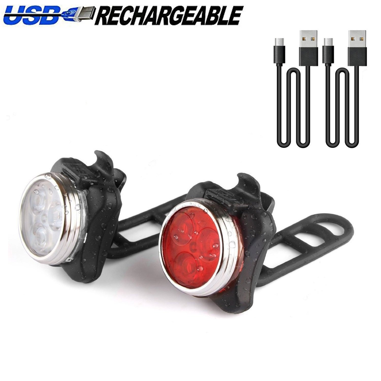 Bycicle Light, Cingk USB Rechargeable Bike Light Set Super Bright LED Front and Back Rear Bicycle Lights Easy To Install for Kids Men Women Road Cycling Safety Warning Light