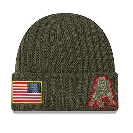 9fe19537632 Image Unavailable. Image not available for. Color  New Era New England  Patriots 2017 Salute To Service Throwback Logo Knit Hat Beanie