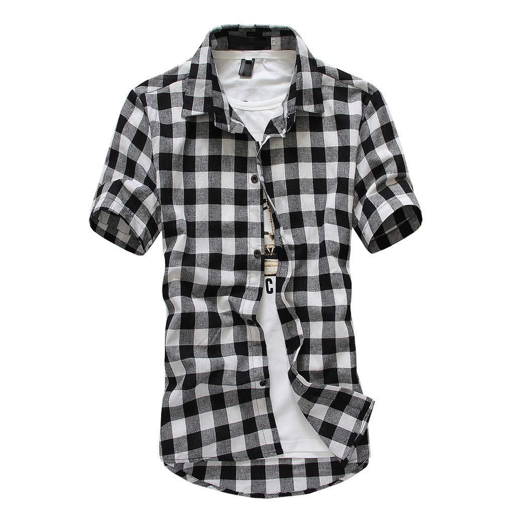 2147c4ec5a42bd Amazon.com: vermers Mens Plus Size Shirts Casual Short Sleeve Lattice Plaid  Painting Button Down Shirt Top Blouse: Clothing