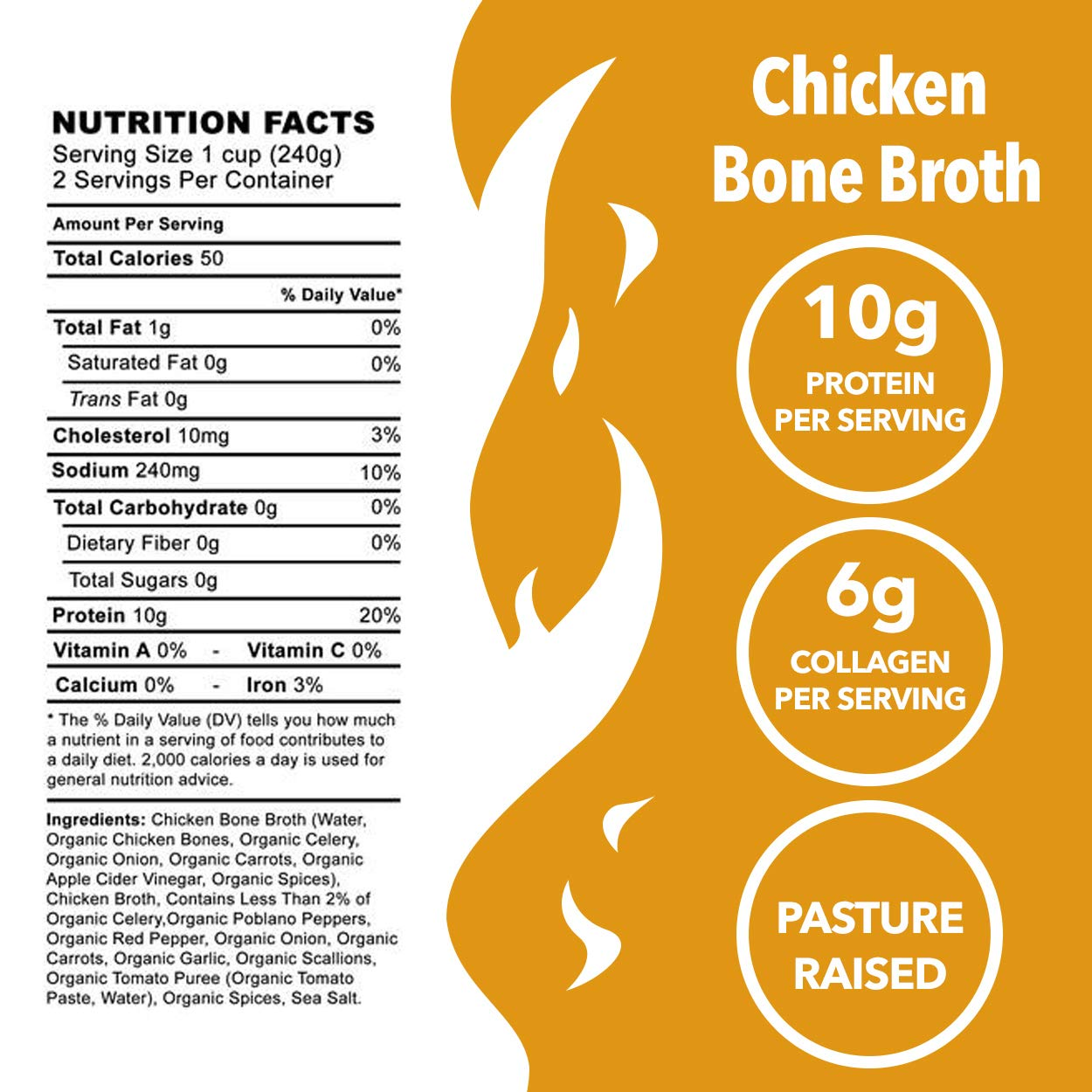 Chicken Bone Broth Soup by Kettle and Fire, Pack of 4, Keto Diet, Paleo Friendly, Whole 30 Approved, Gluten Free, with Collagen, 10g of protein, 16.2 fl oz by Kettle & Fire (Image #3)