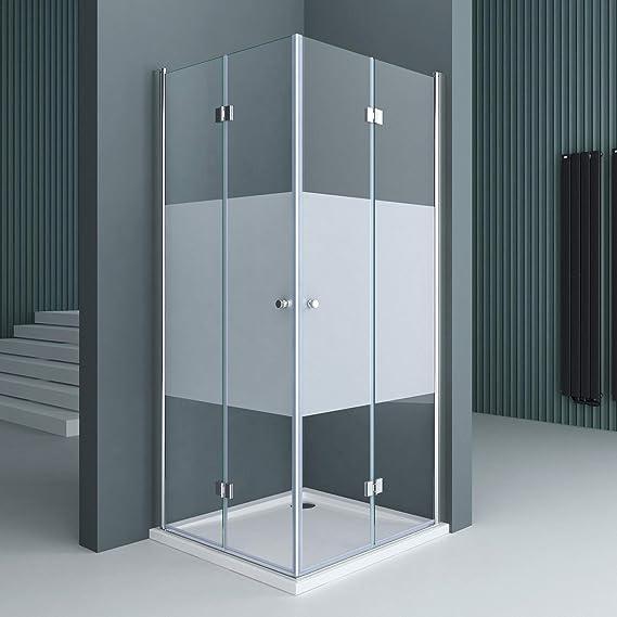 doporro: Cabina de ducha de esquina diseño Ravenna26 90x80x190 mampara de vidrio de seguridad con franjas de vidrio esmerilado | Con revestimiento en ambos lados para fácil limpieza: Amazon.es: Bricolaje y herramientas