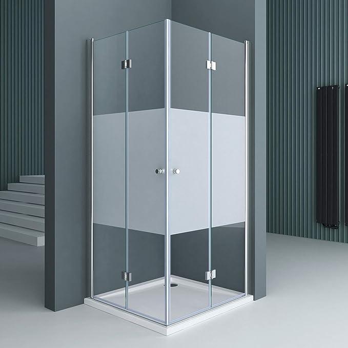 doporro: Cabina de ducha de esquina diseño Ravenna26 100x100x190 mampara de vidrio de seguridad con franjas de vidrio esmerilado | Con revestimiento en ambos lados para fácil limpieza: Amazon.es: Bricolaje y herramientas
