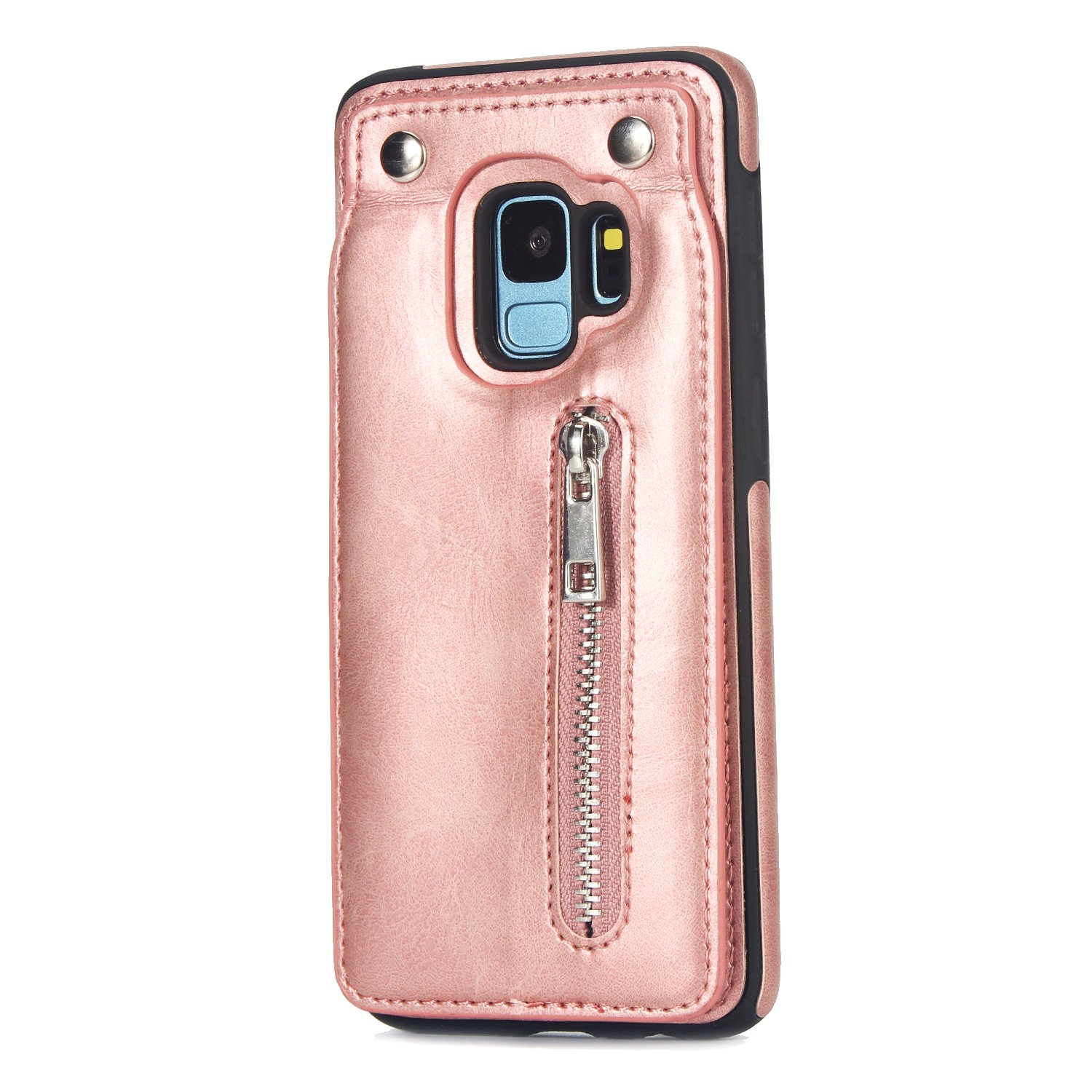 Case for Galaxy S9 Plus Flip Case Premium PU Leather Wallet Cover with Card Holder Money Pocket Durable Shockproof Protective Cover for Galaxy S9 Plus,Rose gold by ikasus