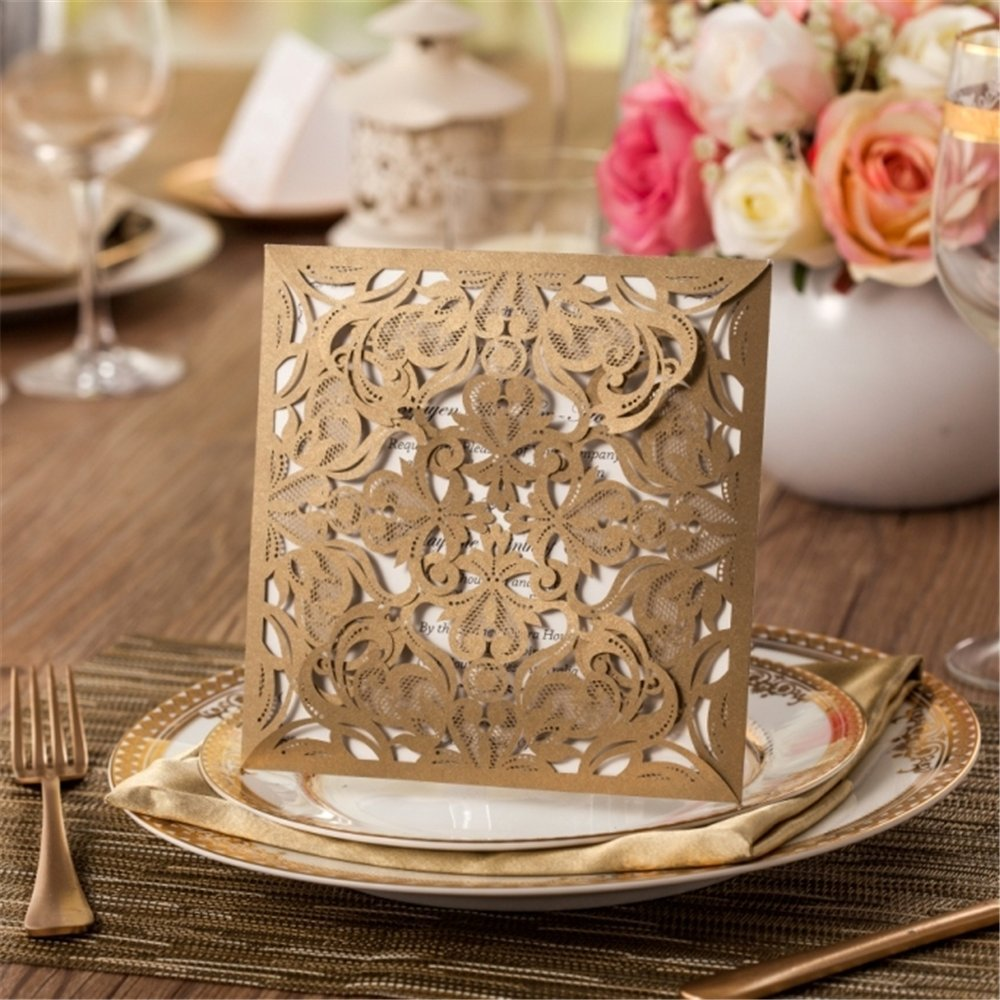Wishmade 150x Gold Square Laser Cut Wedding Invitations Kit With Envelope and Seals Card Stock For Engagement Bridal Shower Birthday Baby Shower Party CW519