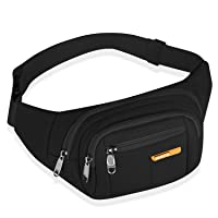 Fanny Pack for Men Women Waterproof Hip Bum Bag Waist Pack Bag Suitable for Outdoors Workout Traveling Casual Running Hiking Cycling Dog Walking Fishing(Black)