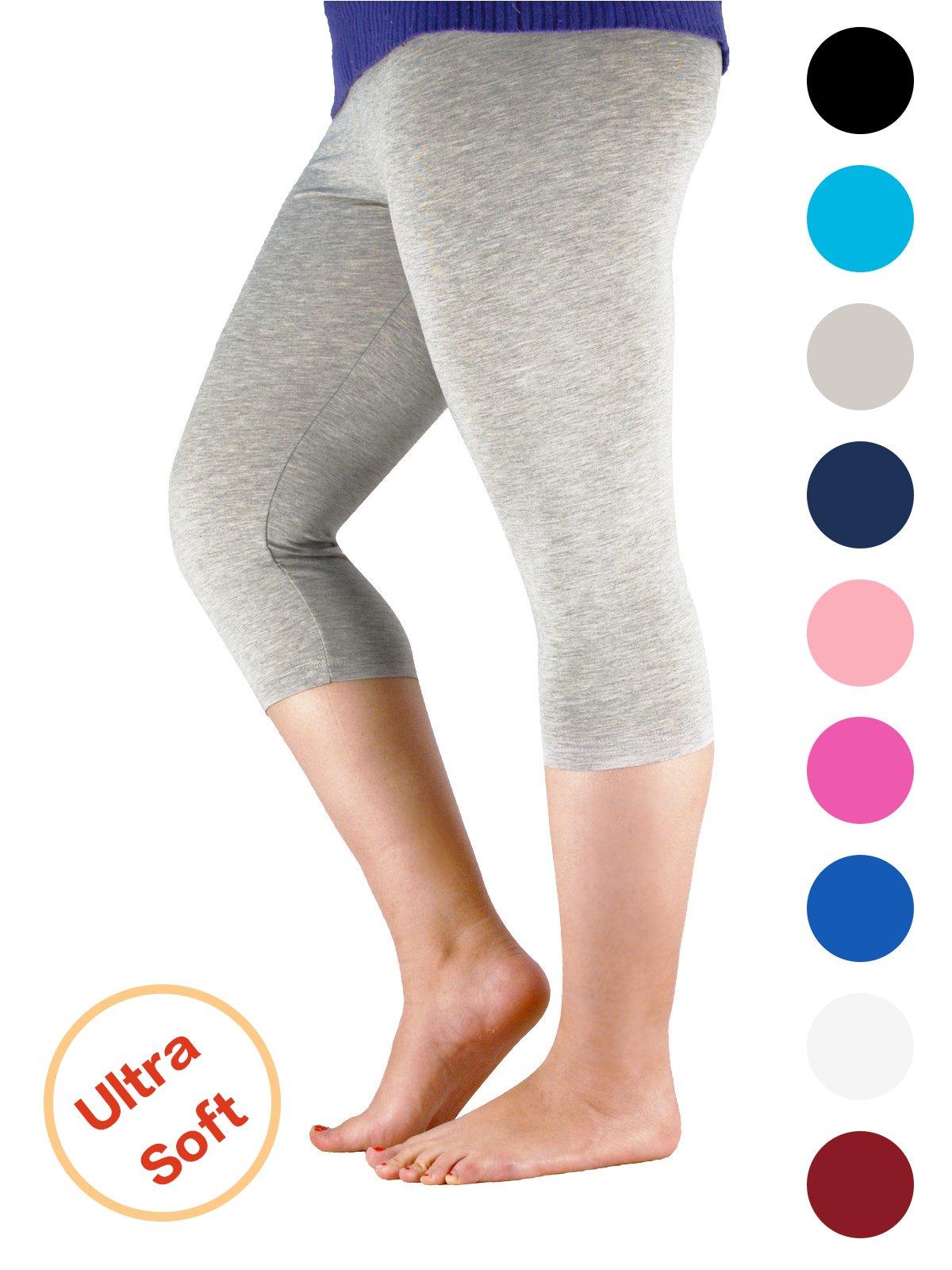 Premium Soft Light Comfy Fit Bamboo Capri Pants Under Dress Leggings for Women Regular and Plus Size Grey 4XL (US Size XL)