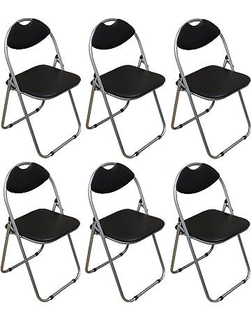 Harbour Housewares Silla de escritorio plegable acolchada - Negra - 6 unidades