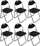 Harbour Housewares Black Padded, Folding, Desk Chair - Pack of 6