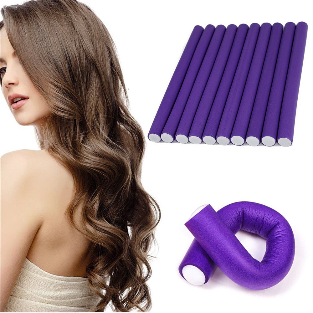 10pc Magic Hair Bendy Rollers Twist-flex Rods Foam Sponge Curler Roller Set for DIY Hairstyle Spiral Ringlet Tool Hair Rods (Purple:Length: 24cm Diameter: 2.0cm) Does not apply