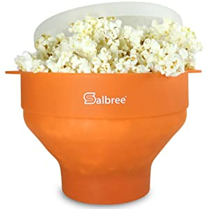 The Original Salbree Microwave Popcorn Popper, Silicone Popcorn Maker, Collapsible Bowl BPA Free - 14 Colors Available (Orange)