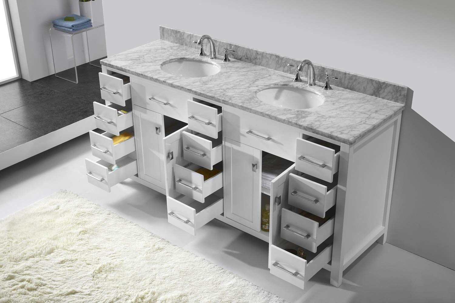 MD-2172-WMRO-WH Italian Carrara White Marble Countertop No Faucet 1 Mirror Virtu USA Caroline Parkway 72 inch Double Sink Bathroom Vanity Set in White w// Round Undermount Sink