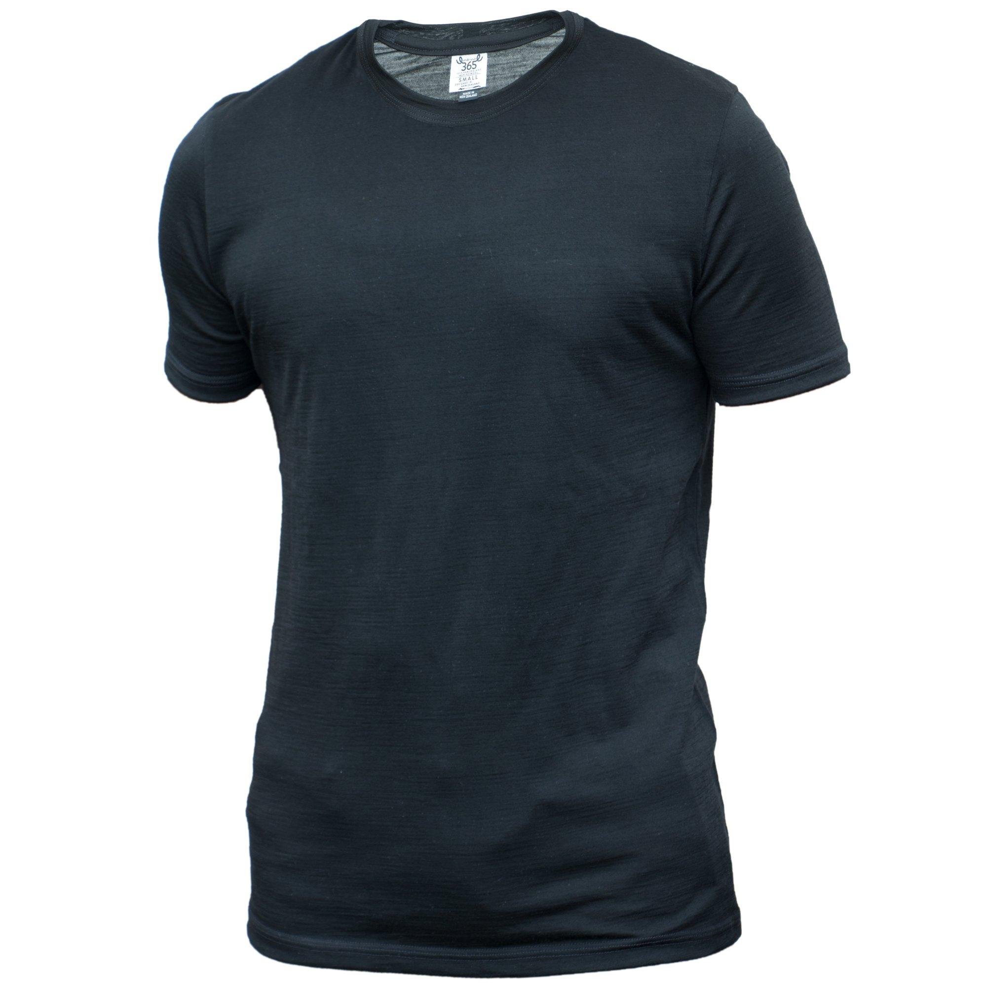 Merino 365 Men's Crew Short Sleeve Large, Black by Merino 365
