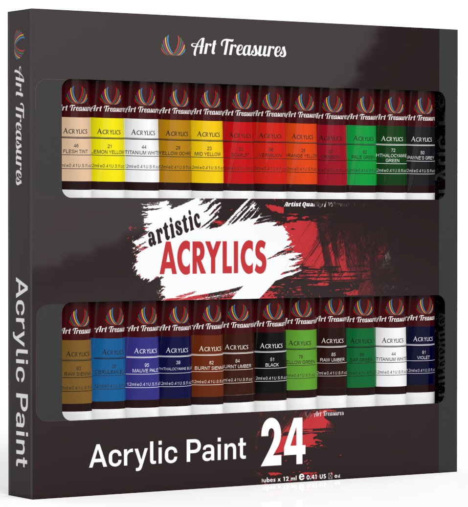 Acrylic Craft Paint - 24 Pack by Art Treasures (Image #1)