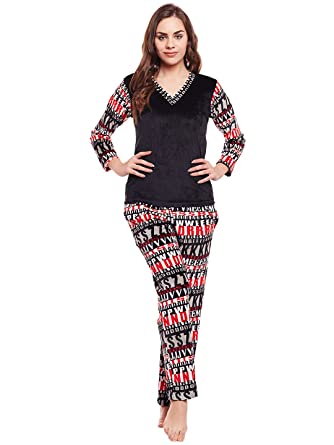 bf5775d02c Claura Women's Black & Red Printed High Quality Full Sleeves Winter Wear  Super Soft Velvet Top