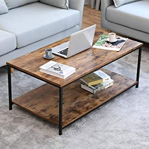 Industrial Coffee Table, BONZY HOME Vintage Coffee Table with Storage Shelf, Wood Look Accent Furniture with Metal Frame Cocktail Table Living Room Coffee Table