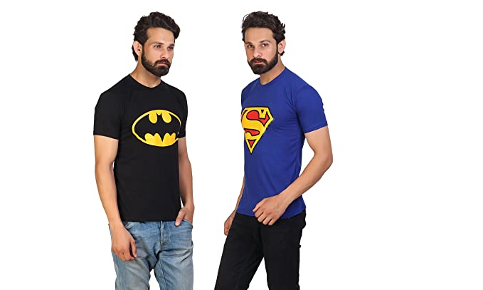b4499b79483 Gee Fashion Men s Cotton Superman and Batman Combo t-shirt (Blue ...