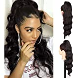 Isaic Wavy Ponytail Extension Synthetic Wrap Around Ponytail Extensions for Women 21 Inch Long Curly Wavy Magic Paste…