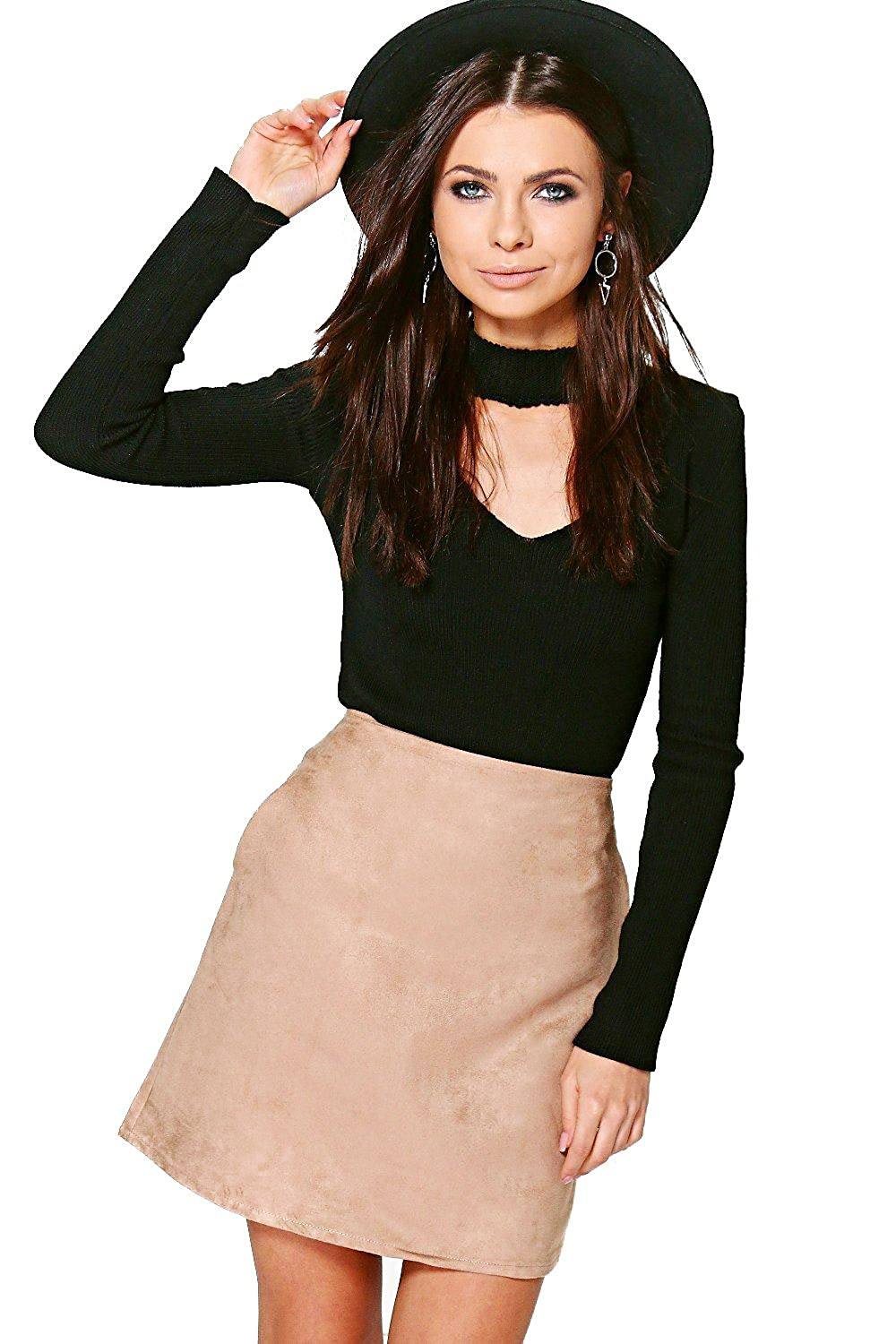 Sand Womens Ella Pocket Side Suedette Mini Skirt