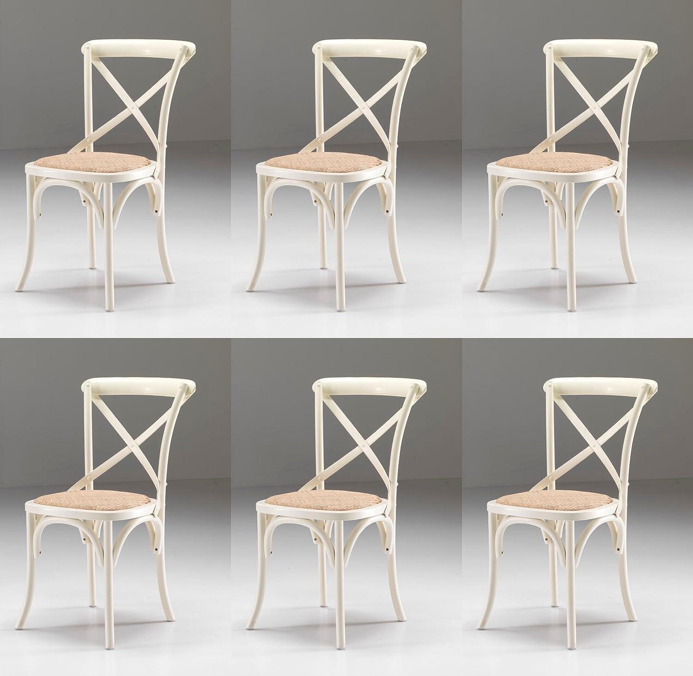 Set 6 SEDIE Country Shabby chic colore Bianco anticato con seduta in paglia fitta PROMO OUTLET ONLINE