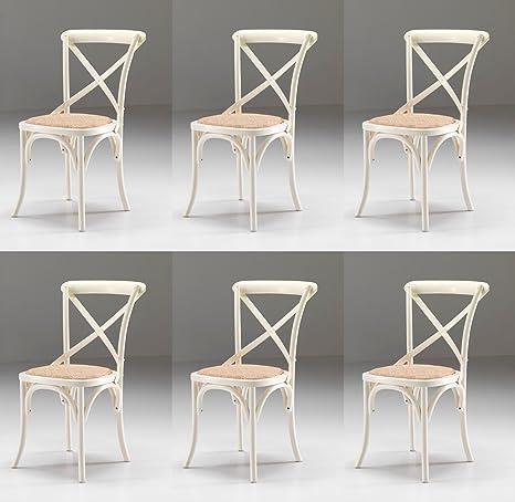 Sedie Stile Shabby Chic.Set 6 Sedie Country Shabby Chic Colore Bianco Anticato Con Seduta