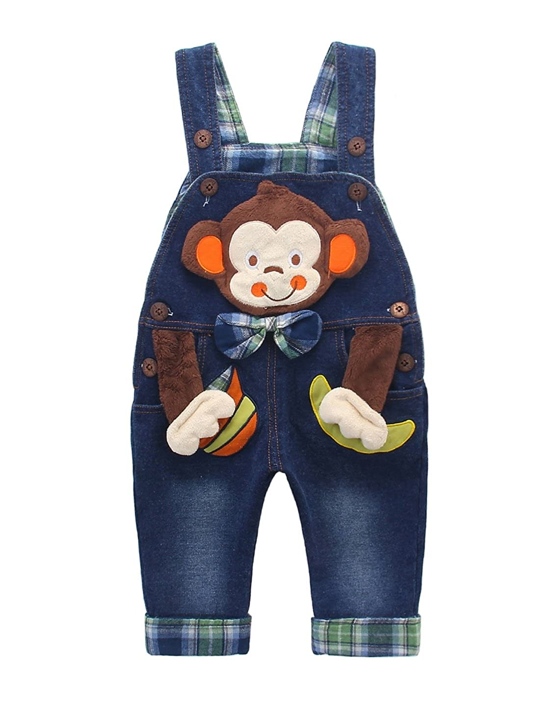 DEBAIJIA Kids Baby Denim Dungarees Boys Girls Toddler Bib Overall Jeans with Suspenders Monkey in Bowtie