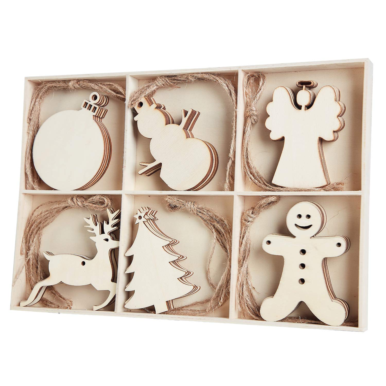 MACTING 30pcs Unfinished Wood Christmas Ornaments with Holes - Angel, Deer, Ball, Doll, Snowman, Christmas Tree Cutouts Tag Tree Hanging Decorations