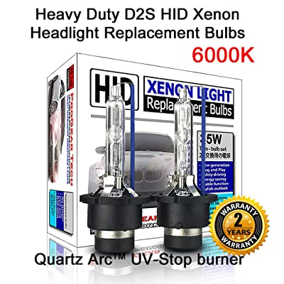 Heavy Duty D2S D2R HID Xenon Headlight Replacement Bulbs 35W (Pack of 2) (6000K Daylight White): Automotive