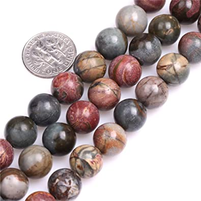 4mm 6mm 8mm 10mm PICASSO JASPER STONE ROUND BALL LOOSE BEAD 15/'/'