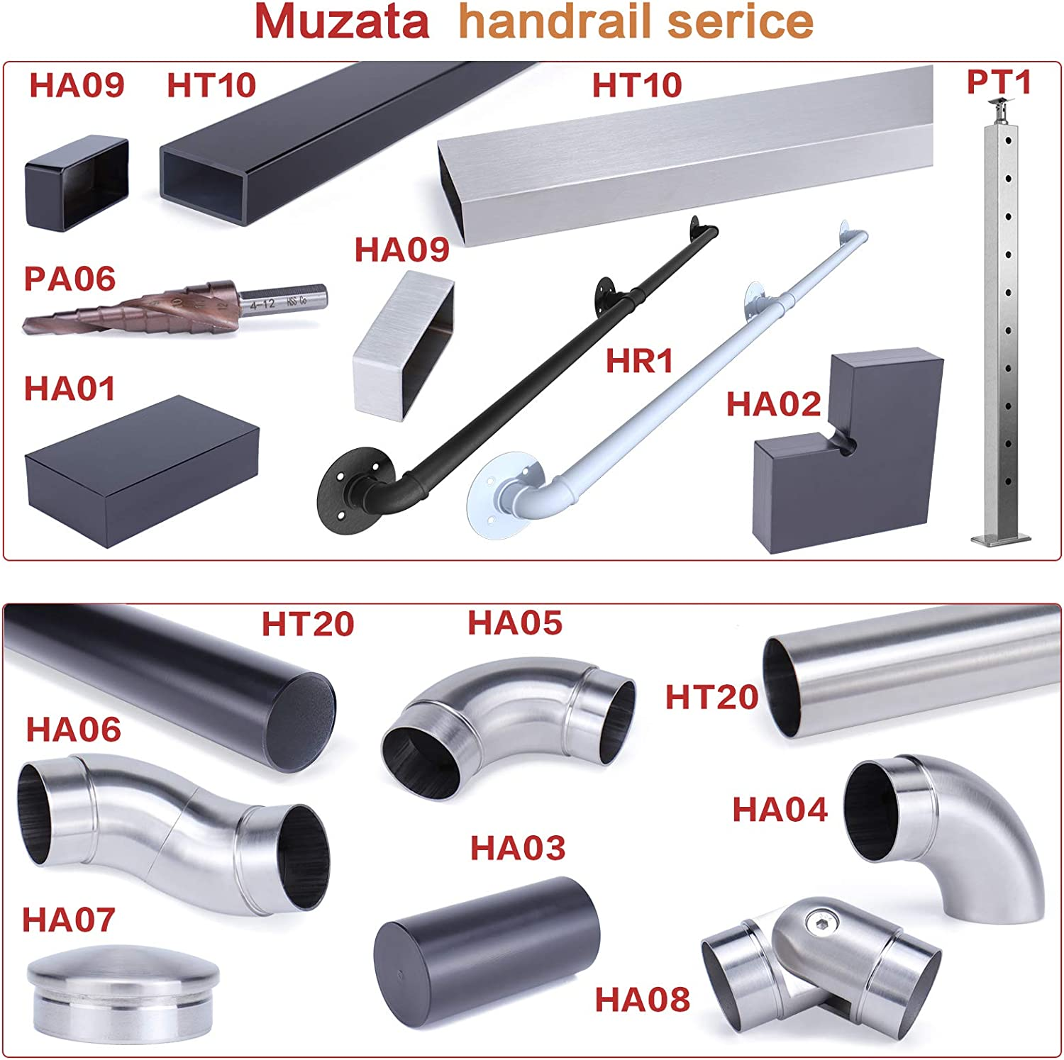 Fit Muzata PT1 Flat Top Post Wood Metal Balustrade HT10 SL4 HR2 Muzata Handrail Stainless Steel 6.6Ft for Cable Railing Deck Stair Indoor Outdoor System 60mmx30mm Rectangle Brushed Finishing