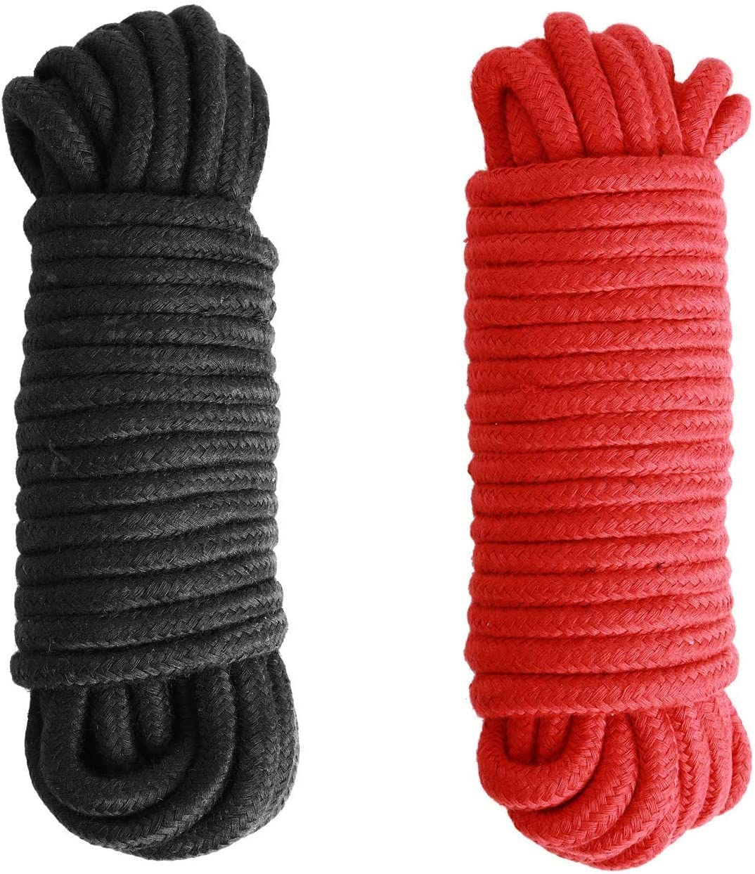 Black Red Soft Cotton Rope-32 feet 10m Multi-Function Natural Durable Long Rope 2 Pack
