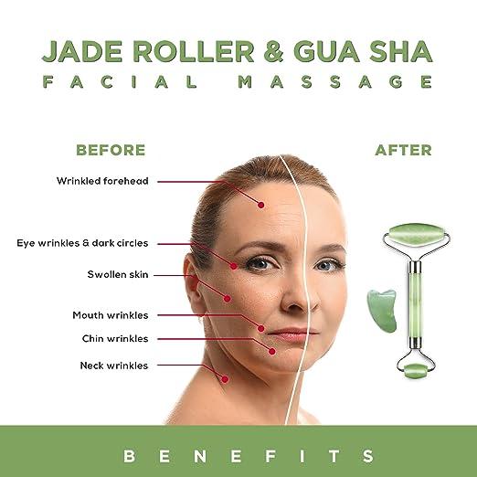 Jade Roller and Gua Sha Scraping Massage Tool - Himalayan Anti-aging 100%  Natural Facial Jade