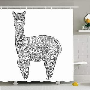 Set de cortina de ducha Ahawoso con ganchos Alpaca Doodle