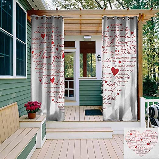 XXANS - Cortina de pérgola con Texto en inglés I Love You to The Moon and Back Valentines Motivational Quote Partners Design, oscurecimiento de habitación, reducción de Ruido: Amazon.es: Jardín