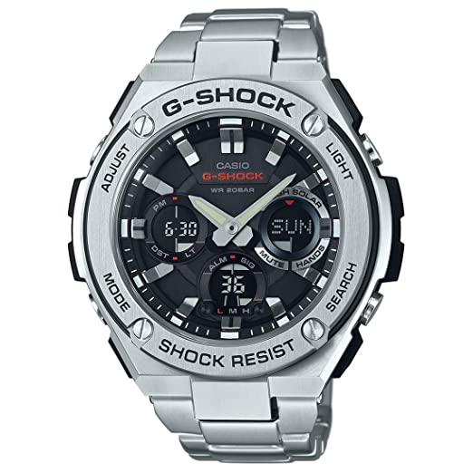 Casio Mens G-Shock GSTS110D-1A Silver Stainless-Steel Quartz Sport Watch