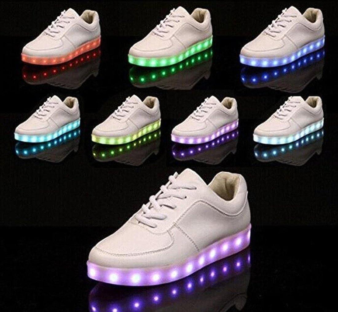Zapatillas deportivas con luz LED para niño, mujer, hombre, luz de 7 colores Blanco Size: 35 EU: Amazon.es: Zapatos y complementos