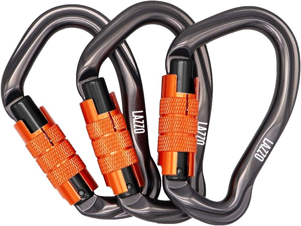 LAZZO 3 Pack Twist Lock Climbing Carabiner Clips