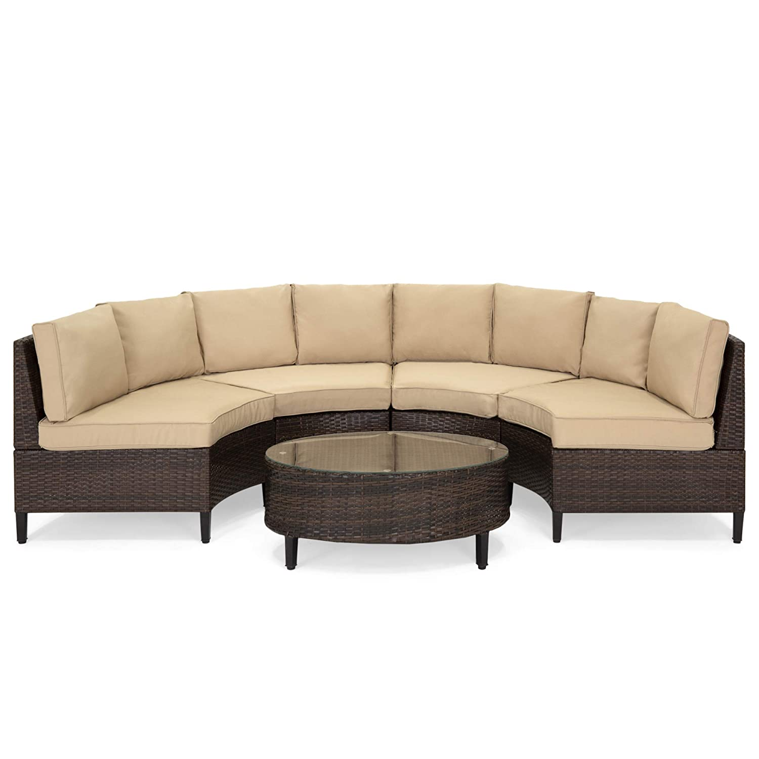 Best Choice Products 5-Piece Modern Outdoor Patio Semi-Circle Wicker  Sectional Sofa Set w/ 4 Seats, Coffee Table - Brown
