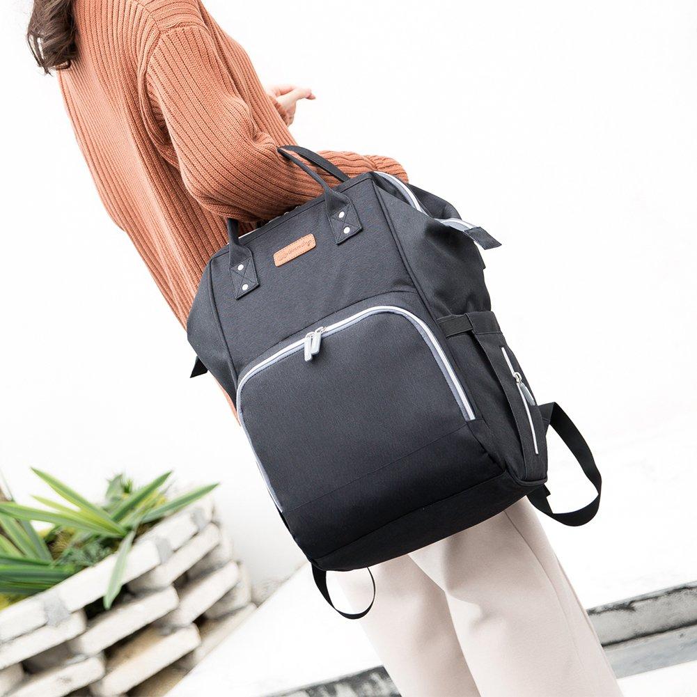 Mochila de pa/ñales actualizada con funci/ón de carga USB multifuncional y de gran capacidad impermeable bolsa de pa/ñales gris gris bolsa organizadora de viaje