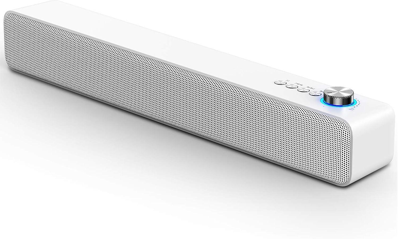 LENRUE Laptop Speakers, Bluetooth 5.0 Wireless Speaker with 10W Surround Sound Built-in Mic, USB, TF Card, Mini Soundbar for Phone Tablet Laptop iMac iPad (White)