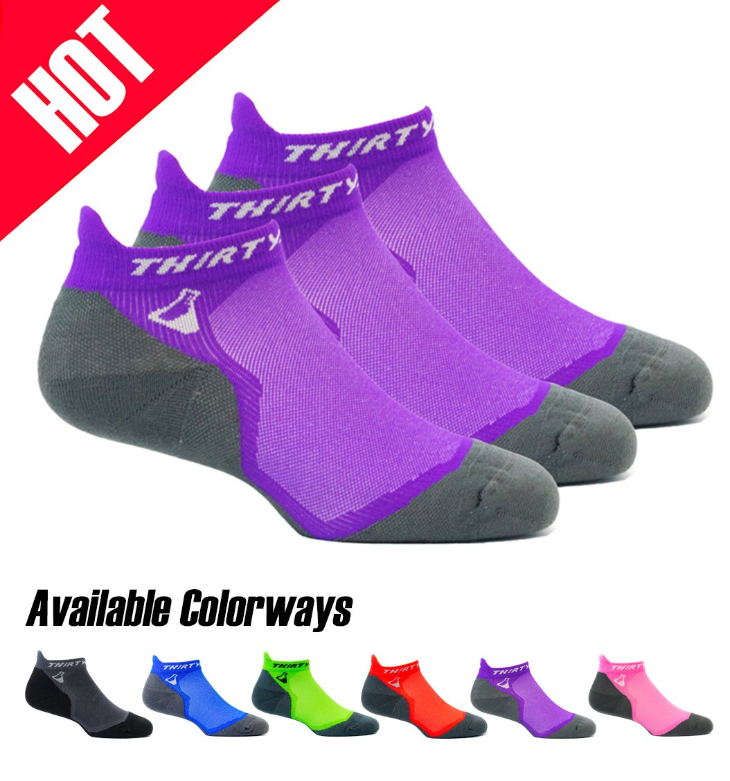Thirty48 Ultralight Athletic Running Socks for Men and Women with Seamless Toe, Moisture Wicking, Cushion Padding (Medium - Women 7-8.5 // Men 8-9.5, [3 Pairs] Purple/Gray) by Thirty48