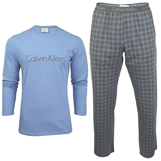 Calvin Klein Pj Pant W L/S Crew-Set de pijama Hombre azul Large