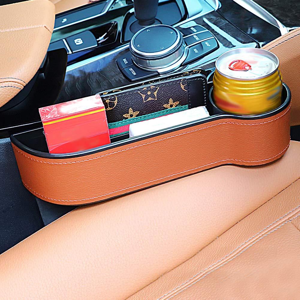 Alivier Asiento de coche Gap Organizador de almacenamiento Consola de cuero de la PU Bolsillo lateral Botella de bebida Soporte de montaje Soporte La mayor/ía de los autom/óviles 1 piezas