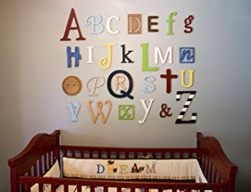 amazon com painted wooden alphabet letters set nursery wall decor