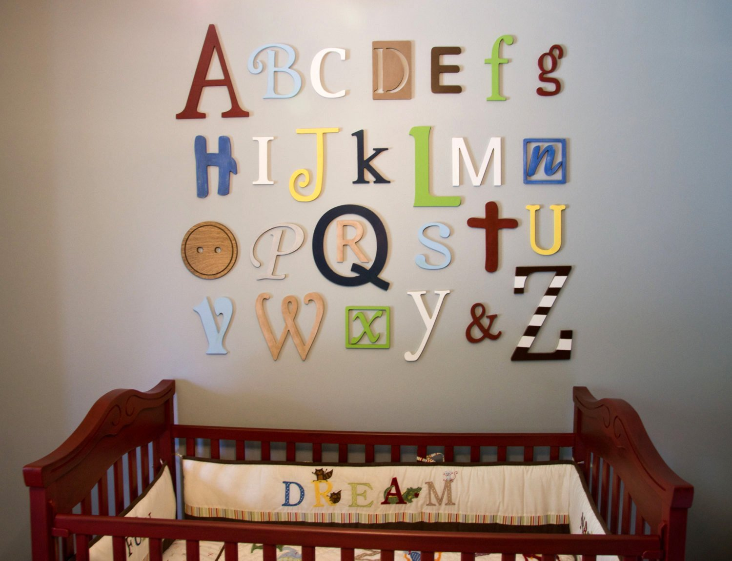 Painted Wooden Alphabet Letters Set, Nursery Wall Decor, Playroom Letters, Wall Hanging, Nursery Decor, Alphabet Wall, ABC Wall, Mixed, Painted Letters, ABC Wall Decor by Acharmed Monograms