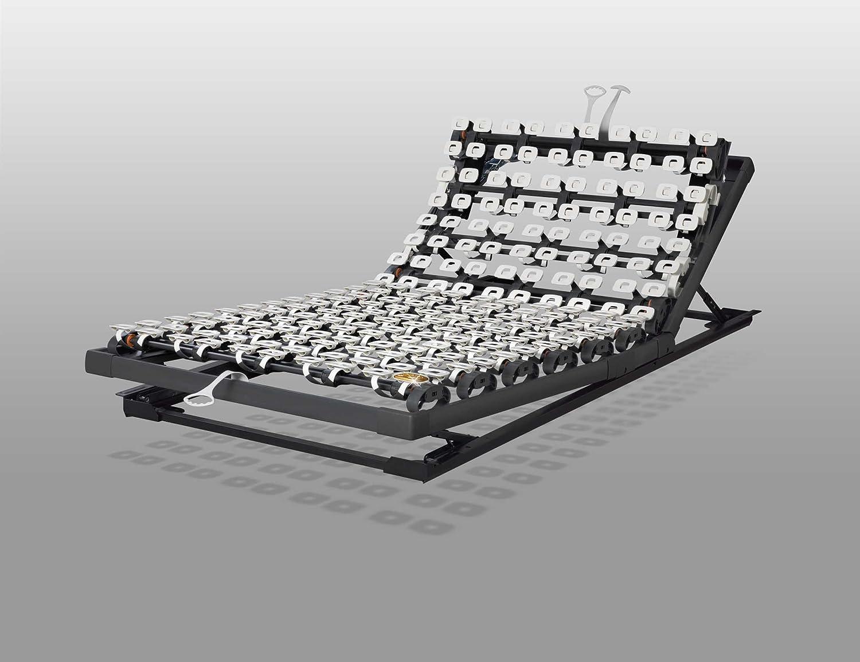 Lattoflex 350 Unterfederung Sitzrahmen mit einfacher, manueller Bedienung: 6-stufige Oberkörperverstellung und 3-stufige Fußteil verstellung. (100 x 190 cm)