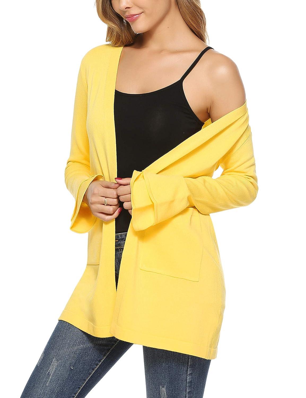 Aibrou Women Long Ruffle Sleeve Open Front Kint Cardigan Sweater S-XXL