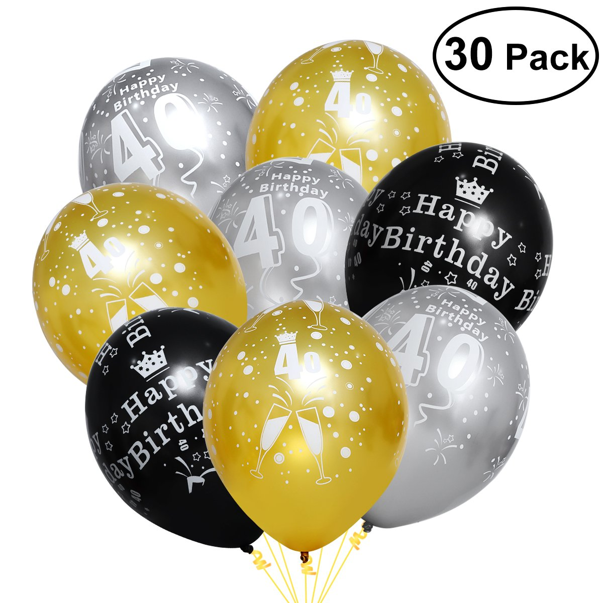 Amazon Unomor 40th Birthday Decorations With Balloons In Black Silver And Gold For Supplies 30 Pack Toys Games