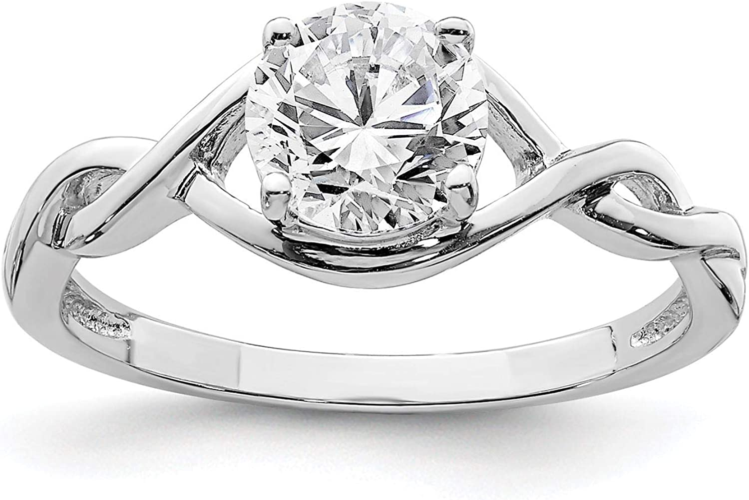 925 Sterling Silver Rhodium-plated 6.5mm CZ Twisted Engagement Ring Size 6-8